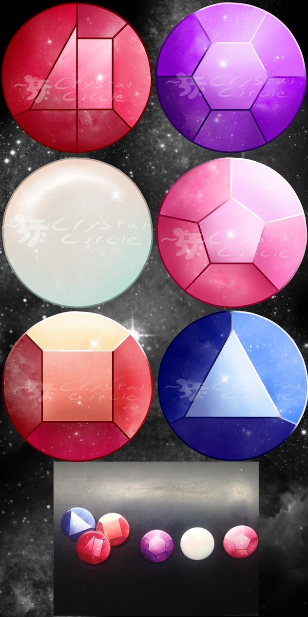 Steven Universe-Crystal Gems pin set by CrystalCircle