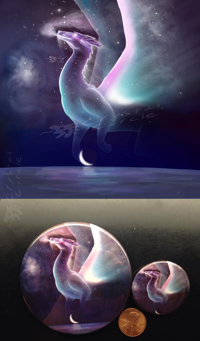 Cosmic dragon-art pin by CrystalCircle