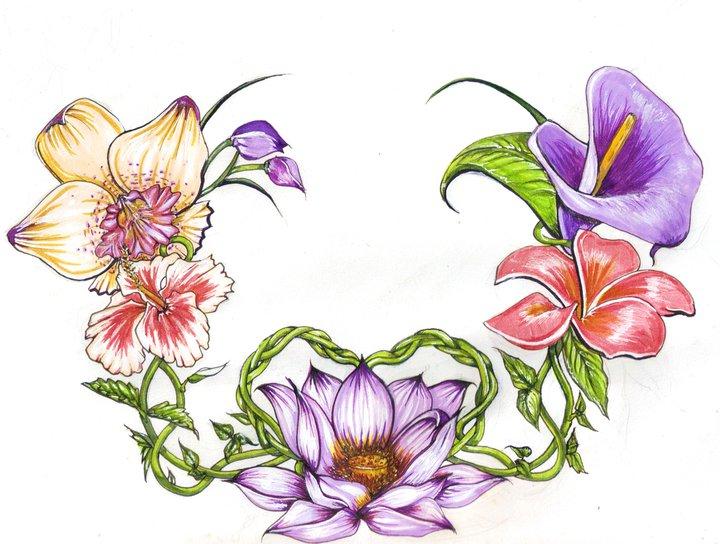 Tropical Flower Tattoo...