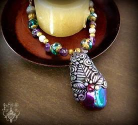 Rainbow Aura Quartz Necklace by EnchantedTokenArt