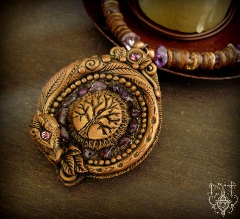 Ametrine Dragon Necklace by EnchantedTokenArt