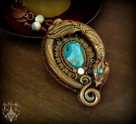 Chrysocolla Dragon by EnchantedTokenArt