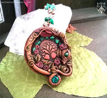 Malachite Dragon Necklace Tree of life by EnchantedTokenArt