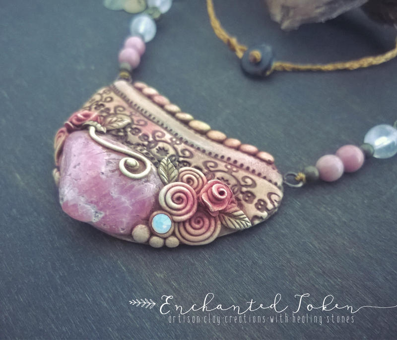 Ethnic style necklace with beautiful rhodochrosite by EnchantedTokenArt
