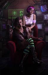 Cyberpunk girlz by Threepwoody