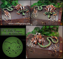 Green N Brown dragon on Tall Old World Chest