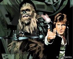 Chewbacca with Han Solo by kfairbanks