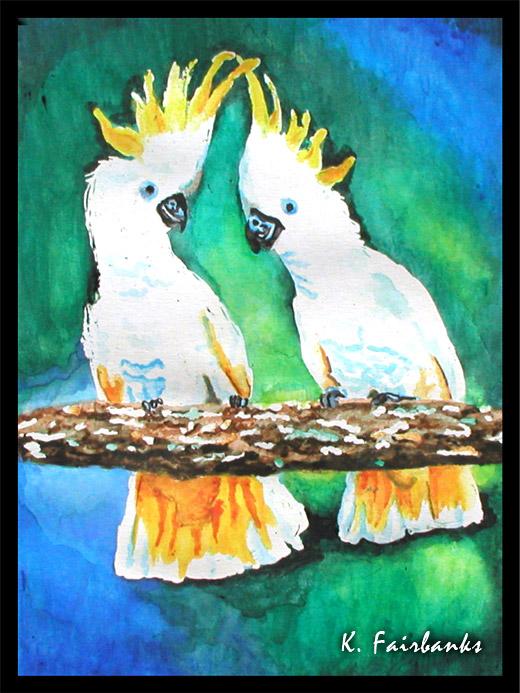 Cockatoos Painting by K. Fairbanks by kfairbanks