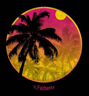 Palm Grunge Design Round Logo