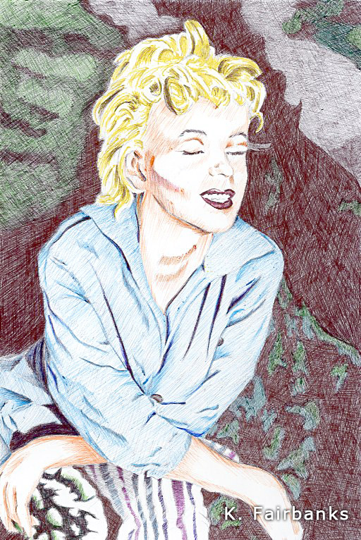 Blue Marilyn (ball point pen drawing) by kfairbanks