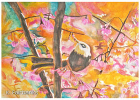 Floral Bird (watercolor painting)