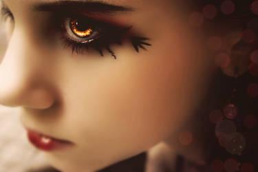 -fire in her eyes- by TwinklePowderySnow