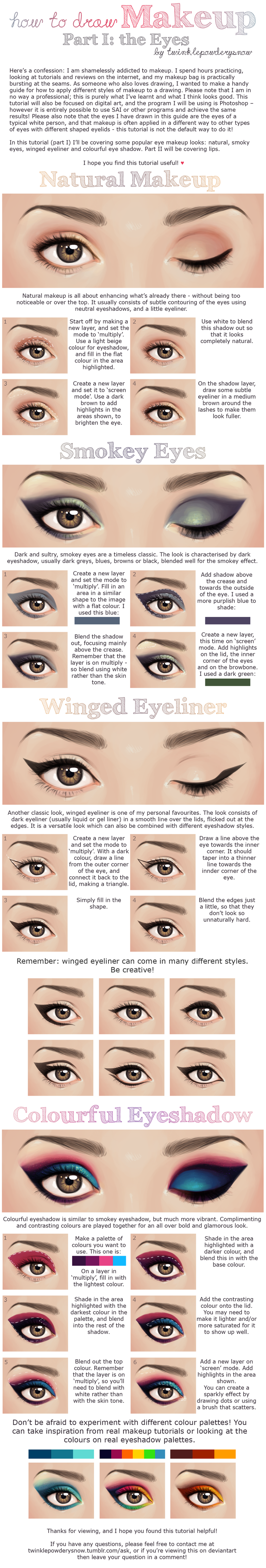 How to Draw Makeup - Part I: Eyes by TwinklePowderySnow
