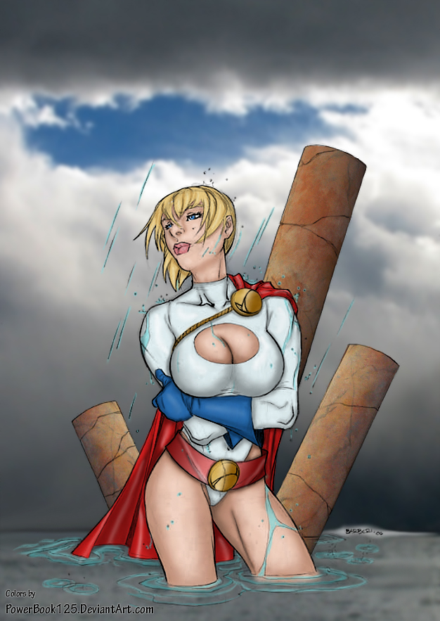 Power Girl gets rained on by powerbook125