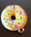 pink donut with sprinkes charm