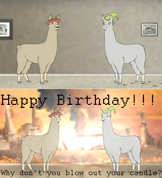 Llamas With Hats B-Day Card 1 Llamas With Hats Faces