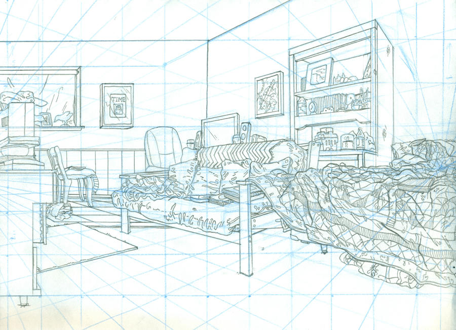 Perspective study bedroom by doctorchef on deviantart for Bedroom 2 point perspective
