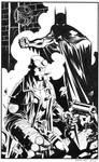 Batman Hellboy- Black and White