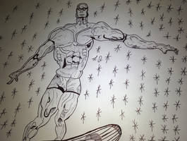 Silver Surfer with goggles and trunks lol