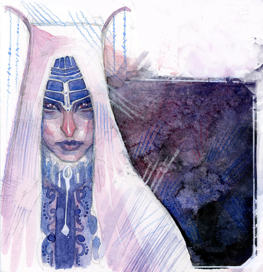 Purple Lady- watercolours by Tintenfischtinte