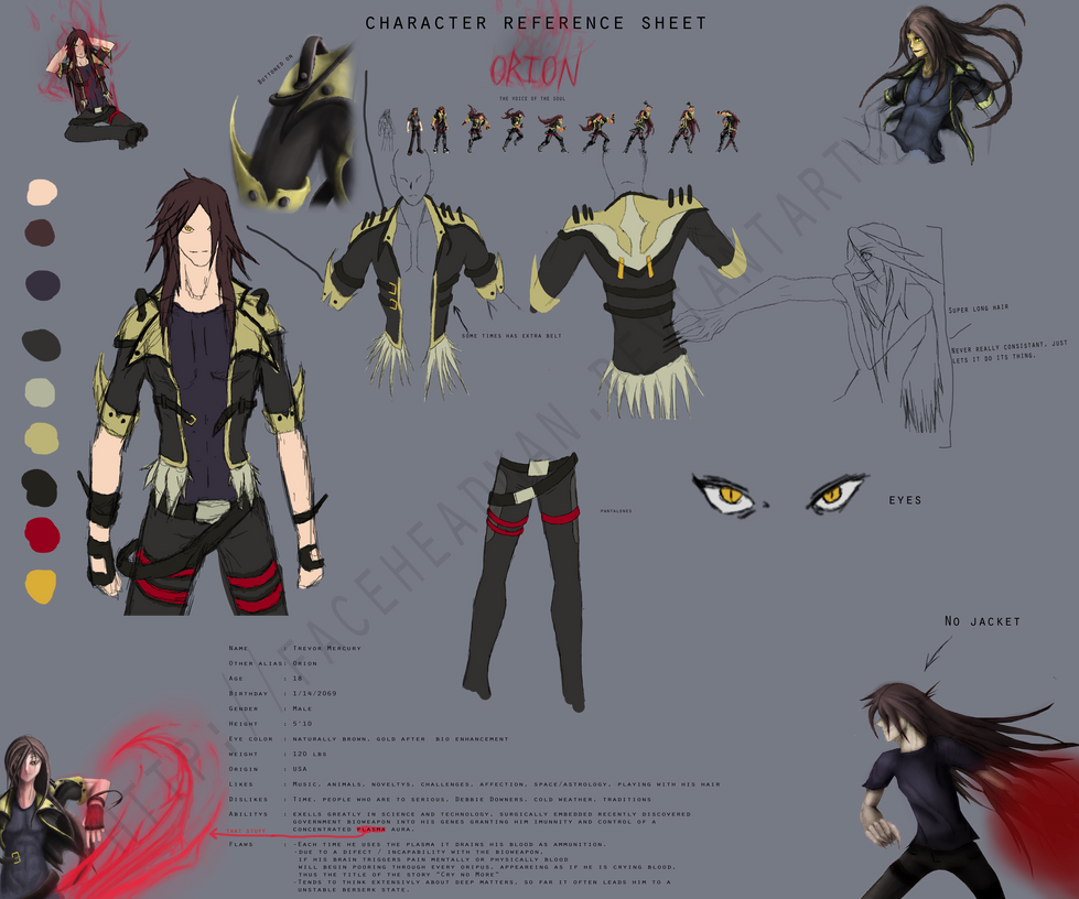 Anime Character Design Deviantart : Character design reference sheet orion by faceheadman on