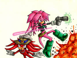 Julie Su and Knuckles by captainsponge