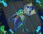 Sleeping under the fish