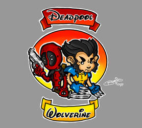 Chibi Deadpool and Logan by BouncieD