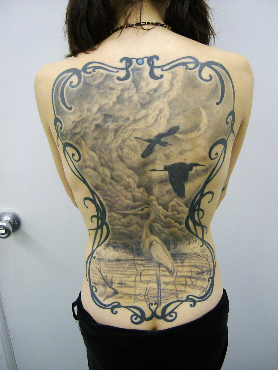 Crane back piece by viptattoo