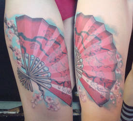 Fan with cherry blossoms by viptattoo