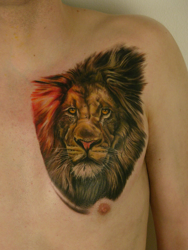 Chest Lion by viptattoo