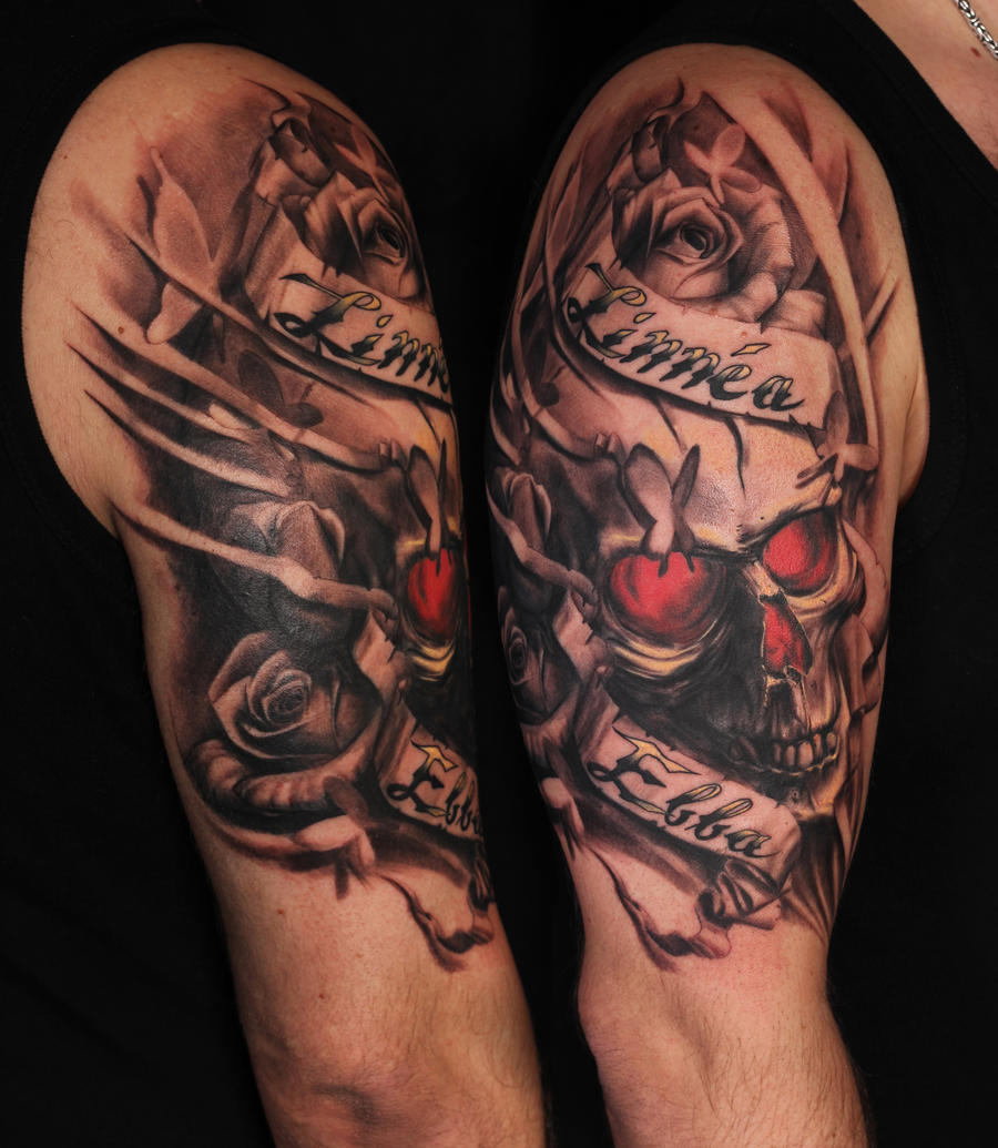 Tattoo Ideas With 3 Names: Skull With Roses And Kids Names By Viptattoo On DeviantArt
