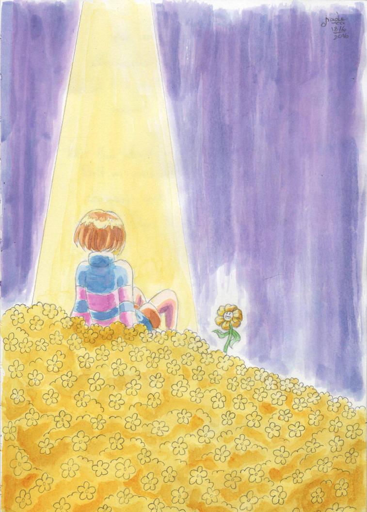 A bed of golden flowers by TsukiAnimeGirl