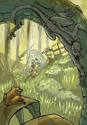 Lizardgirl hides by Bubaben