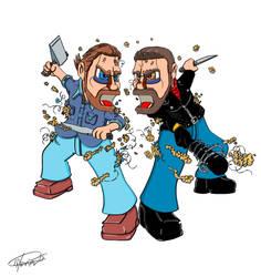 Rick Vs Negan puppet fight by Hxavierscorner