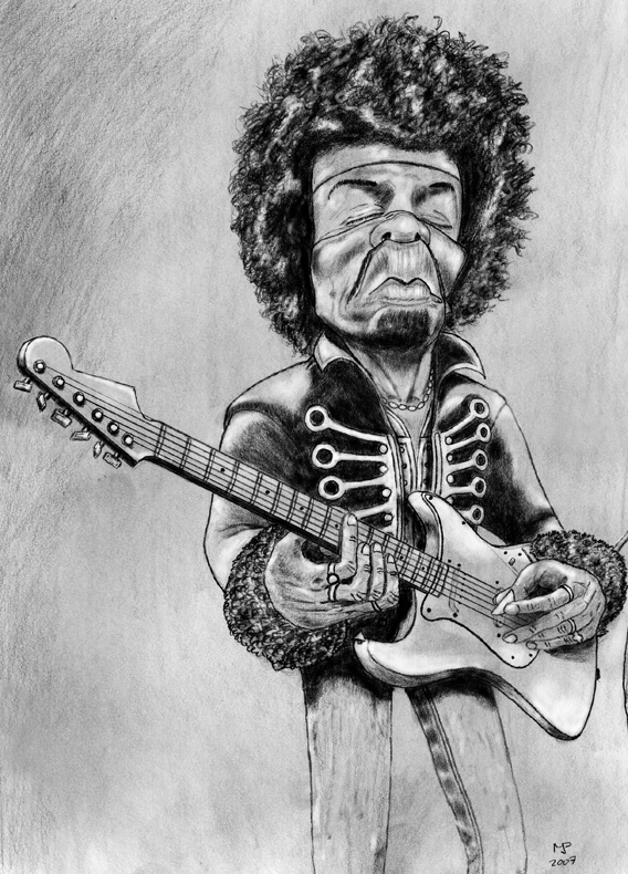 Jimi Hendrix caricature by MjP-70