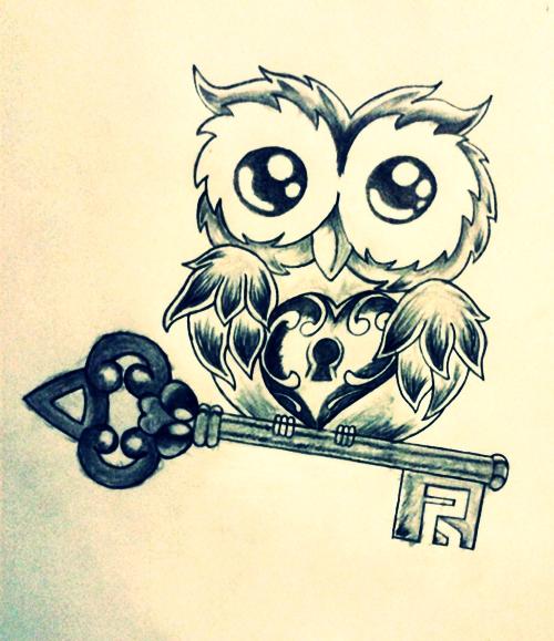 Owl heart key by lazymexicano on deviantart for Owl heart tattoo