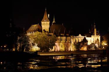 Vajdahunyad Castle in Budapest by Night