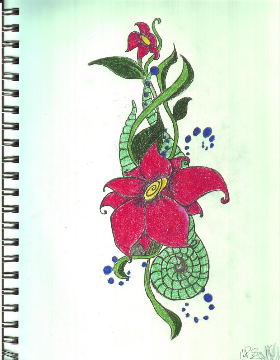 K Design Tattoo Mulan Flower Tat...