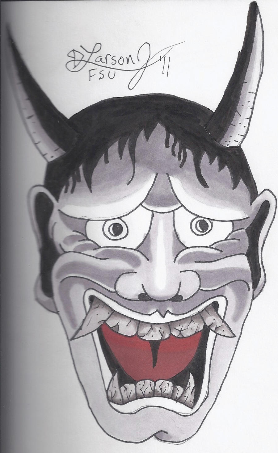 japanese devil mask by larsonjamesart on deviantart. Black Bedroom Furniture Sets. Home Design Ideas