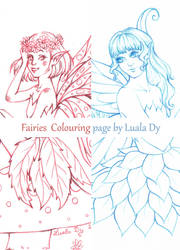 Fairies Colouring Page by LualaDy