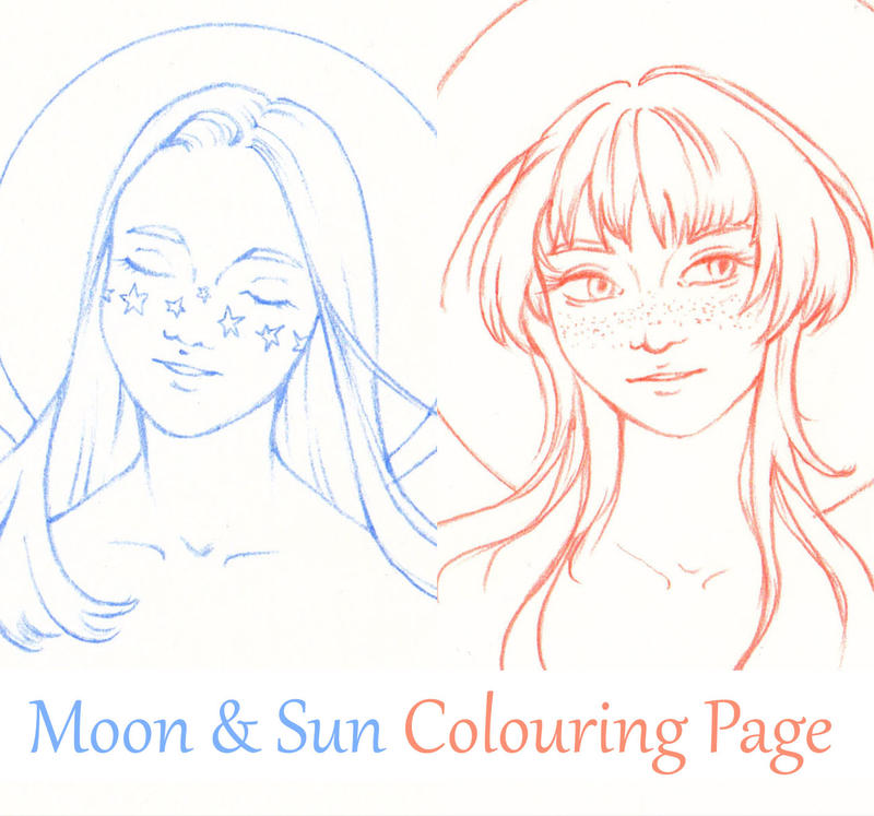 Moon  Sun Colouring Page
