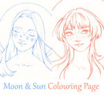 Moon  Sun Colouring Page by LualaDy