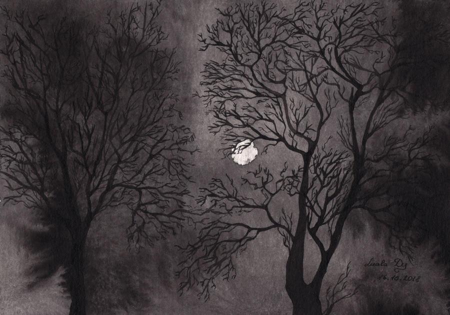 Inktober18 Day16 Moonlight by LualaDy