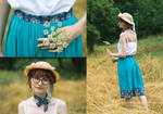 Turquoise Skirt Redux + Matching Tie by LualaDy