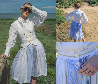 Blue and White Skirt - from second hand clothes