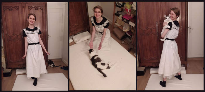 White Gown And Cat