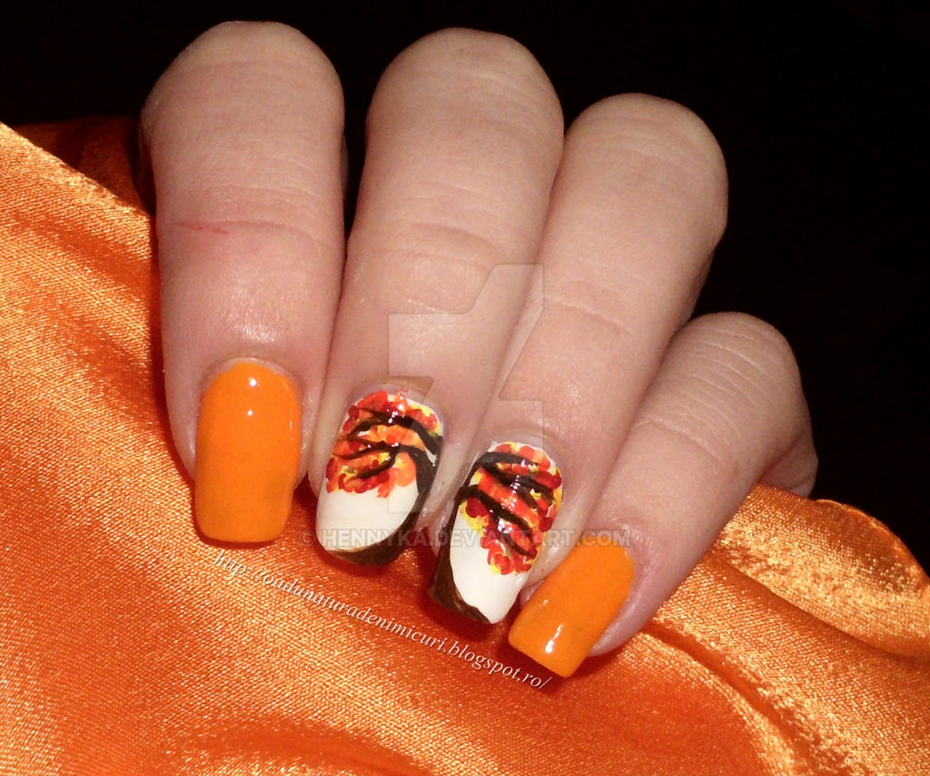 Autumn tree nail design by hennyka on DeviantArt