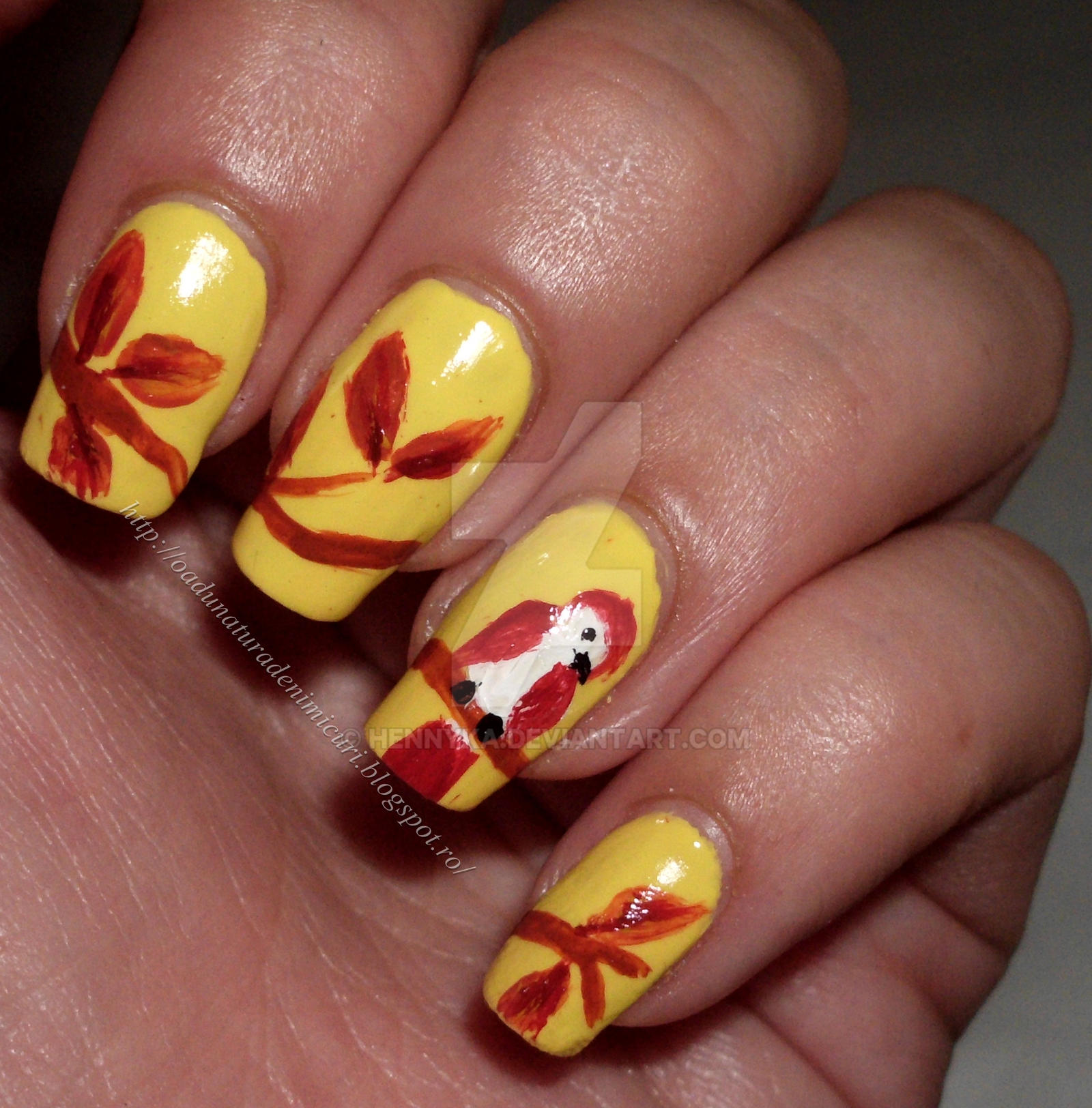 Bird nail art design by hennyka