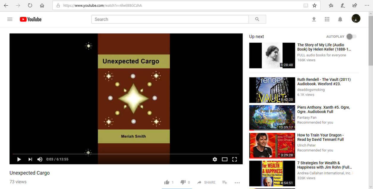 Unexpected Cargo, a Home Made Audiobook on YouTube by CherokeeGal1975